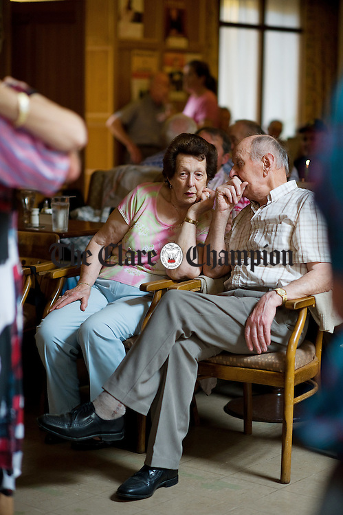 Taking a break and having a chat during the daytime dancing at the Rathbaun in Lisdoonvarna as part of the September Matchmaking Festival. Photograph by John Kelly.