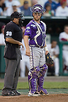 TCU's Holaday, Bryan 7424.jpg against Florida State at the College World Series on June 23rd, 2010 at Rosenblatt Stadium in Omaha, Nebraska.  (Photo by Andrew Woolley / Four Seam Images)