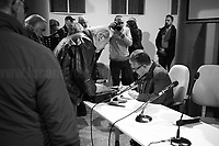 """Nino Di Matteo.<br /> <br /> Rome, 08/02/2019. Moby Dick Library & Cultural Hub in Garbatella district & Antimafia Duemila (2.) held the presentation of the book """"Il Patto Sporco"""" (The Dirty Pact. The Trial State-mafia in the Story [narrated] by his Protagonist, Chiarelettere, 1.) hosted by the author of the book Saverio Lodato (Journalist & Author), Antonino 'Nino' Di Matteo (Protagonist of the book, Antimafia Magistrate of Palermo, member of the DNA - Antimafia & Antiterrorism National Directorate - who """"prosecuted the Italian State for conspiring with the Mafia in acts of murder and terror"""", 3.4.5.6.) & Giorgio Bongiovanni (Editor of Antimafia Duemila). Chair of the event was Silvia Resta (Journalist & Author). Readers were: Bianca Nappi & Carlotta Natoli (both Actresses). From the back cover of the book: """"Let us ask ourselves why politics, institutions, culture, have needed the words of judges to finally begin to understand…A handful of magistrates and investigators have shown not to be afraid to prosecute the [Italian] State. Now others must do their part too"""" (Nino Di Matteo). """"In the pages of this book I wanted the magistrate, the man, the protagonist and the witness to speak about a trial destined to leave its mark"""" (Saverio Lodato). From the book online page: """"The attacks to Lima [politician], Falcone & Borsellino [Judges], the bombs in Milan, Florence, Rome, the murders of valiant police commissioners & officers of the carabinieri. The [Italian] State on its knees, its best men sacrificed. However, while the blood of the massacres was still running there were those who, precisely in the name of the State, dialogued and interacted with the enemy. The sentence of condemnation of Palermo [""""mafia-State negotiation"""" trial which is told in the book], against the opinion of many 'deniers', proved that the negotiation not only was there but did not avoid more blood. On the contrary, it provoked it"""" (1.).<br /> Footnotes & links are provide at the 2nd & last pages """