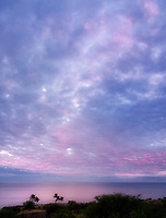 Sunset clouds and ocean off Kohala coast. Hawii, The big Island.