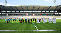 15 Mei 2010 Bekerfinale vrouwen : Sinaai Girls - RSC Anderlecht  : beide ploegen bij de ploegvoorstelling.foto DAVID CATRY / Vrouwenteam.be