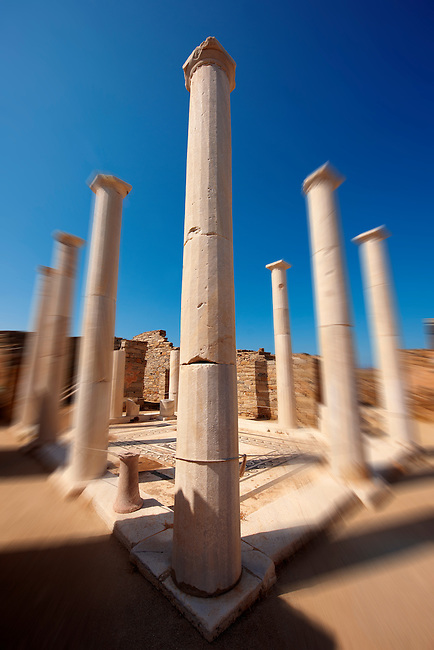 Columns of the House of Dionysos in the ruins of the Greek city of Delos, the birthplace of the twin gods Apollo and Artemis.