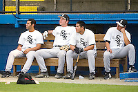Members of the Bristol White Sox watch the action during batting practice at Burlington Athletic Park in Burlington, NC, Thursday, July 12, 2007.