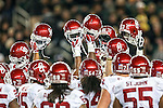 Oklahoma Sooners get ready for action during the game between the Oklahoma Sooners and the Baylor Bears at the McLane Stadium in Waco, Texas. OU defeats Baylor 44 to 34.
