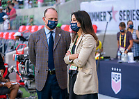 AUSTIN, TX - JUNE 16: US Soccer CEO Will Wilson and Kate Markgraf of the USWNT talk before a game between Nigeria and USWNT at Q2 Stadium on June 16, 2021 in Austin, Texas.