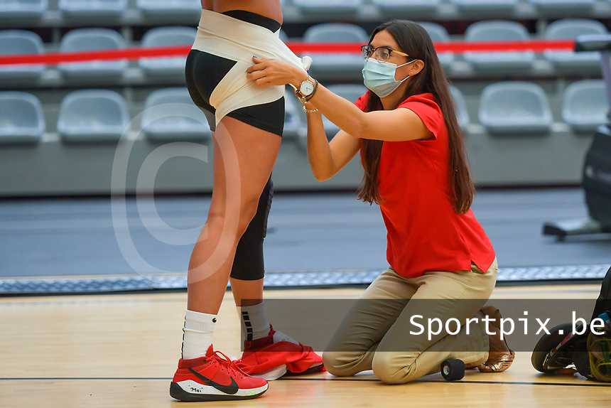 Tayra Melendez (1) of Puerto Rico prepared before a basketball game between the national teams of Puerto Rico and Serbia on Sunday 30 th of May 2021 in Kortrijk , Belgium . PHOTO SPORTPIX.BE | SPP | STIJN AUDOOREN