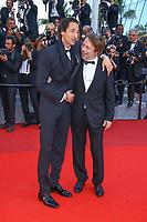 Adrien Brody et Mathieu Amalric, sur le tapis rouge pour la projection du film D APRES UNE HISTOIRE VRAIE, hors competition lors du soixante-dixième (70ème) Festival du Film à Cannes, Palais des Festivals et des Congres, Cannes, Sud de la France, samedi 27 mai 2017.