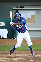 Howie Kendrick (41) of the Rancho Cucamonga Quakes, while on a rehab assignment for the Los Angeles Dodgers, bats against the Lake Elsinore Storm during a game at LoanMart Field on April 10, 2016 in Rancho Cucamonga, California. Lake Elsinore defeated Rancho Cucamonga, 7-6. (Larry Goren/Four Seam Images)