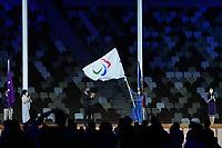 5th September 2021; Tokyo, Japan, 2020 Paralympic Games, closing ceremony: Anne Hidalgo  mayor of Paris, waves the Paralympic flag during the closing ceremony