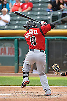 Carlos Triunfel (8) of the Albuquerque Isotopes at bat against the Salt Lake Bees at Smith's Ballpark on May 21, 2014 in Salt Lake City, Utah.  (Stephen Smith/Four Seam Images)