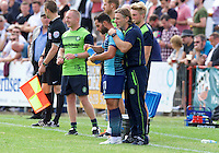 Sam Wood of Wycombe Wanderers and Manager Gareth Ainsworth during the Friendly match between Maidenhead United and Wycombe Wanderers at York Road, Maidenhead, England on 30 July 2016. Photo by Alan  Stanford PRiME Media Images.