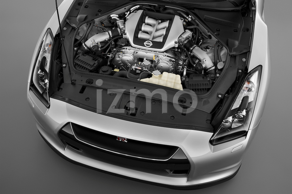 High angle engine detail of a 2009 Nissan GTR Coupe .