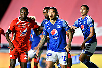 CALI – COLOMBIA, 07-11-2020: Jugadores del América y Millonarios durante el partido entre América de Cali y Millonarios FC por la fecha 18 de la Liga BetPlay DIMAYOR I 2020 jugado en el estadio Pascual Guerrero de la ciudad de Cali. / Players of America and Millonarios during match between America de Cali and Millonarios FC for the date 18 as part of BetPlay DIMAYOR League I 2020 played at the Pascual Guerrero stadium in Cali city. Photos: VizzorImage / Nelson Rios / Cont