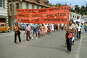 Trade union banner on a parade in the capital St.Georges to mark the third anniversary of the Grenada revolution.