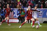 Harrison, NJ - Saturday, March 04, 2017: Julie Johnston, Karen Carney during a SheBelieves Cup match between the women's national teams of the United States (USA) and England (ENG) at Red Bull Arena.