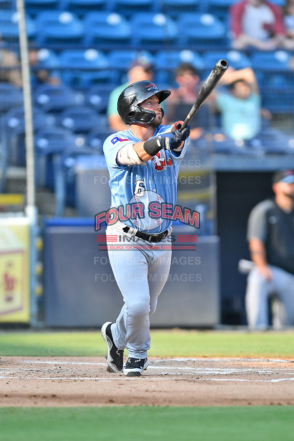 Hickory Crawdads Trey Hair (6) swings at a pitch during a game against the Asheville Tourists on July 21, 2021 at McCormick Field in Asheville, NC. (Tony Farlow/Four Seam Images)