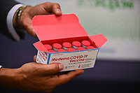 FORT LAUDERDALE, FLORIDA - DECEMBER 23: A view of the box that contained several vials of Moderna COVID-19 vaccine on the table that was issued for use among Broward Health Imperial Point frontline caregiver at Broward Health Imperial Point on December 23, 2020 in Fort Lauderdale, Florida. Broward Health Medical Center began vaccinating frontline healthcare workers last week with the Pfizer-BioNtech COVID-19 vaccine and are continuing to inoculate frontline caregivers with both of the vaccines after the arrival of the Moderna.  <br /> CAP/MPI10<br /> ©MPI010/Capital Pictures