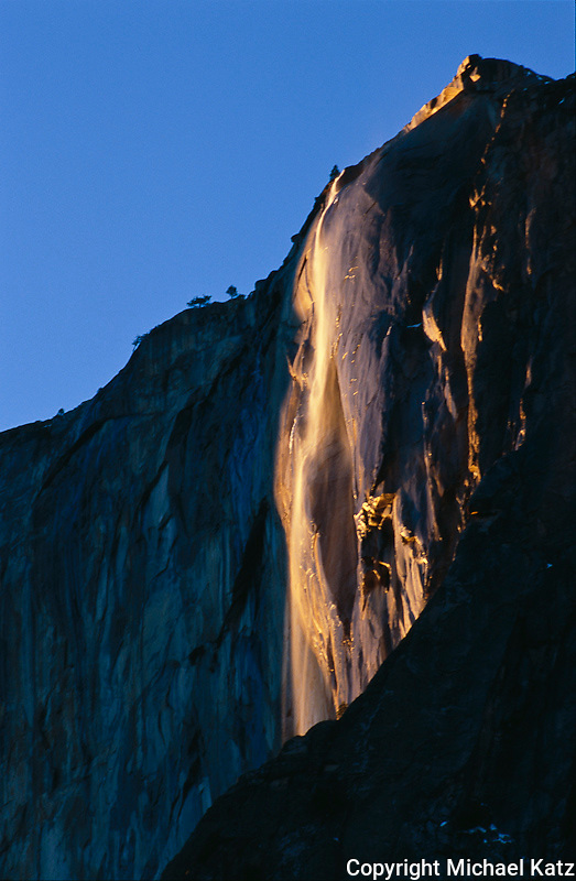 Late afternoon light on Horsetail Falls, late February.