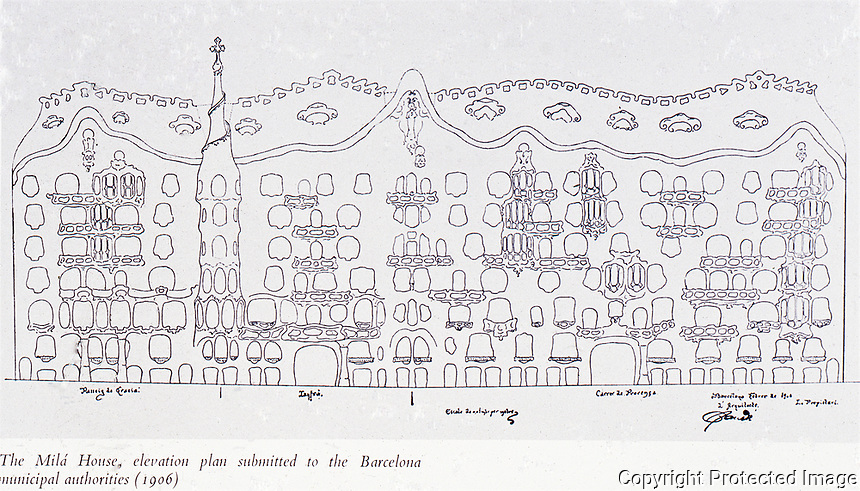 Elevation plan of Casa Mila (1906-1912) is a building designed by the architect Antoni Gaudi. It was Gaudi's last work of civic architecture and represented a break with the conventions of his day. Barcelona, Spain.