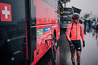 Simon Gerrans (AUS/BMC) at the race start in torrential rained down Nice<br /> <br /> 76th Paris-Nice 2018<br /> Stage 8: Nice > Nice (110km)