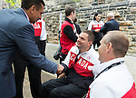 Ottawa ON - June 4 2014 - Mark Ideson meets The Honourable Bal Gossal, Minister of State (Sport) during the Celebration of Excellence visiting Parliament Hill. (Photo: Matthew Murnaghan/Canadian Paralympic Committee)