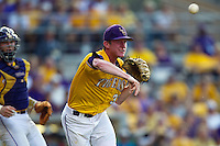 LSU Tigers pitcher Ryan Eades #37 throws to first after a bunt during the first inning of the NCAA Super Regional baseball game against Stony Brook on June 10, 2012 at Alex Box Stadium in Baton Rouge, Louisiana. Stony Brook defeated LSU 7-2 to advance to the College World Series. (Andrew Woolley/Four Seam Images)
