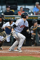 Jupiter Hammerheads shortstop J.T. Riddle (5) at bat during a game against the Bradenton Marauders on April 17, 2015 at McKechnie Field in Bradenton, Florida.  Bradenton defeated Jupiter 11-6.  (Mike Janes/Four Seam Images)
