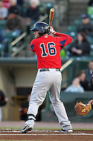 Pawtucket Red Sox third baseman Will Middlebrooks #16 during a game against the Rochester Red Wings at Frontier Field on April 13, 2012 in Rochester, New York.  Pawtucket defeated Rochester 4-3.  (Mike Janes/Four Seam Images)