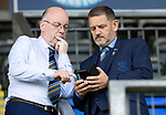 St Johnstone v Livingston….10.08.19      McDiarmid Park     SPFL <br />Chairman Steve Brown pictured with football administrator Paul Smith<br />Picture by Graeme Hart. <br />Copyright Perthshire Picture Agency<br />Tel: 01738 623350  Mobile: 07990 594431