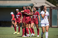STANFORD, CA - SEPTEMBER 12: Naomi Girma, Belle Briede, and Andrea Kitahata during a game between Loyola Marymount University and Stanford University at Cagan Stadium on September 12, 2021 in Stanford, California.