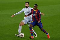 15th march 2021; Camp Nou, Barcelona, Catalonia, Spain; La Liga Football, Barcelona versus Huesca;  Ousmane Dembele of Barcelona holds off the challenge from Insua of Huesca