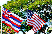 The Hawaiian and American flags