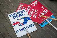 a small amount of BREXIT banners and protesters around Westminster on the day of the European Elections in Westminster, London, England on 23 May 2019. Photo by Andy Rowland.