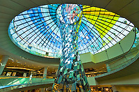Dubai.  Architectural sculpture of mirrors and coloured glass dome of atrium in extension to Wafi Mall, a modern up market shopping centre/center..