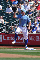 Omaha Storm Chasers first baseman Travis Snider (22) catches throw during the Pacific Coast League game against the Nashville Sounds at Werner Park on June 5, 2016 in Omaha, Nebraska.  Omaha won 6-4.  (Dennis Hubbard/Four Seam Images)