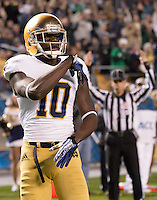 Notre Dame wide receiver DaVaris Daniels celebrates his 10-yard touchdown catch. The Pittsburgh Panthers defeated the Notre Dame Fighting Irish 28-21 at Heinz Field, Pittsburgh, Pennsylvania on November 9, 2013.