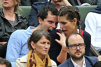 Laury Thilleman and boyfriend during Roland Garros tennis open 2016 on may 29 2016.