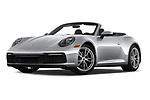 Stock pictures of low aggressive front three quarter view of 2021 Porsche 911 Carrera 2 Door Convertible Low Aggressive