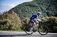 Fausto Masnada (ITA/Deceuninck - Quick Step) crossing over to Tadej Pogacar up the Passo di Ganda<br /> <br /> 115th Il Lombardia 2021 (1.UWT)<br /> One day race from Como to Bergamo (ITA/239km)<br /> <br /> ©kramon