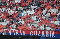MEDELLÍN -COLOMBIA - 4-MARZO-2018:Hinchas del Independiente Medellín. Independiente Medellín y Atlético Junior durante partido por la fecha 6  de la Liga Águila I 2018 jugado en el estadio Atanasio Girardot de la ciudad de Medellín. / Fans of Independiente Medellin.Deportivo Independiente Medellin and Atletico Junior during match for date 6 of Aguila  League I 2018 at Atanasio Girardot stadium in Medellin city. Photo: VizzorImage/ León Monsalve /Contribuidor