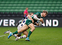 4th October 2020; Twickenham Stoop, London, England; Gallagher Premiership Rugby, London Irish versus Bristol Bears; Ollie Hassell-Collins of London Irish with a try as tackled by Max Malins of Bristol Bears