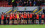 Clondegad stand for the anthem before their senior county final against Kilmurry Ibrickane at Cusack park. Photograph by John Kelly.