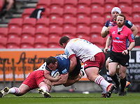 27th March 2021; Ashton Gate Stadium, Bristol, England; Premiership Rugby Union, Bristol Bears versus Harlequins; Wilco Louw of Harlequins tackles Bryan Byrne of Bristol Bears