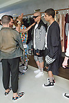 """Backstage hair and makeup preperation at the Ricardo Seco Spring Summer 2019 """"Vision"""" collection fashion presentation in Flying Solo, in New York City, on July 9, 2018; during New York Fashion Week: Men's Spring Summer 2019."""