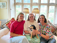 BNPS.co.uk (01202) 558833<br /> Pic BNPS<br /> <br /> PICTURED Reunited with Crumpet (From left) Elektra, Tallulah Covell and Mother, Sarah.<br /> <br /> A family left devastated when their puppy went missing are shocked to have been reunited with her - more than 11 years later. <br /> <br /> Sarah Covell and her two young daughters were heartbroken when their three-month-old Jack Russell called Crumpet went missing from their back garden in 2010.<br /> <br /> They spent weeks looking for her before giving up hope of ever seeing her again.<br /> <br /> But he family received a phone call out of the blue to say their microchipped dog had been found over 30 miles away.