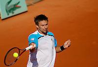 Tenis, Roland Garros 2011.Rafael Nadal (ESP) Vs. Robert Soderling (SWE).Robert Soderling, returns the ball.Paris, 01.06.2011..foto: Srdjan Stevanovic/Starsportphoto ©