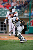 Charlotte Knights catcher Daniel Gonzalez (29) looks to throw to third base during an International League game against the Rochester Red Wings on June 16, 2019 at Frontier Field in Rochester, New York.  Rochester defeated Charlotte 3-2 in the second game of a doubleheader.  (Mike Janes/Four Seam Images)