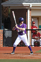 James Madison University outfielder Ian Haynes #5 at bat during a game against the Boston College Eagles at Watson Stadium at Vrooman Field on February 18, 2012 in Conway, SC.  Boston College defeated James Madison 8-5.  (Robert Gurganus/Four Seam Images)