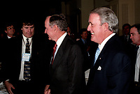 Former US President George Bush (Sr), former canadian prime minister Brian Mulroney and negociator Simon Reissman take part in summit after ten years of free trade between USA and Canada, June 1996 (exact date unknown)<br /> <br /> PHOTO :  Agence Quebec Presse
