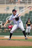 Kannapolis Intimidators relief pitcher Jake Elliott (37) in action against the West Virginia Power at Kannapolis Intimidators Stadium on June 18, 2017 in Kannapolis, North Carolina.  The Intimidators defeated the Power 5-3 to win the South Atlantic League Northern Division first half title.  It is the first trip to the playoffs for the Intimidators since 2009.  (Brian Westerholt/Four Seam Images)